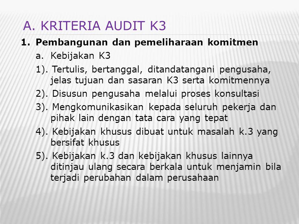 1.Pembangunan dan pemeliharaan komitmen a.Kebijakan K3 1). Tertulis, bertanggal, ditandatangani pengusaha, jelas tujuan dan sasaran K3 serta komitmenn