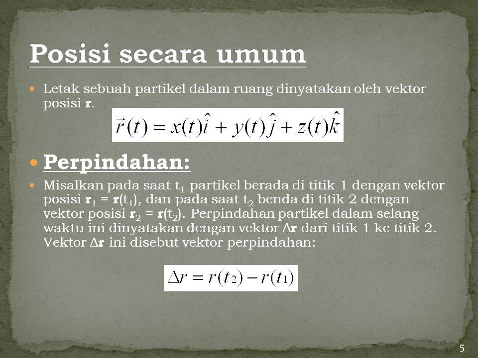 Letak sebuah partikel dalam ruang dinyatakan oleh vektor posisi r. Perpindahan: Misalkan pada saat t 1 partikel berada di titik 1 dengan vektor posisi