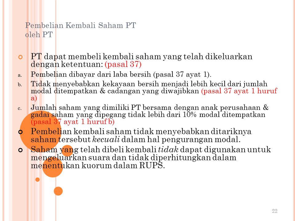 Pembelian Kembali Saham PT oleh PT PT dapat membeli kembali saham yang telah dikeluarkan dengan ketentuan: (pasal 37) a.