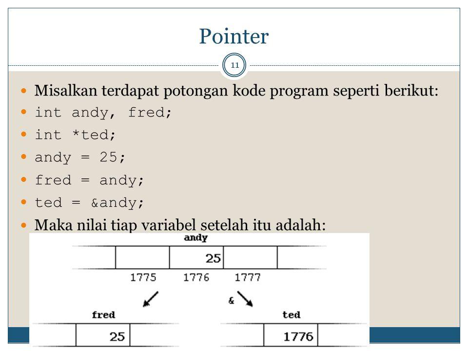 Pointer 11 Misalkan terdapat potongan kode program seperti berikut: int andy, fred; int *ted; andy = 25; fred = andy; ted = &andy; Maka nilai tiap variabel setelah itu adalah: