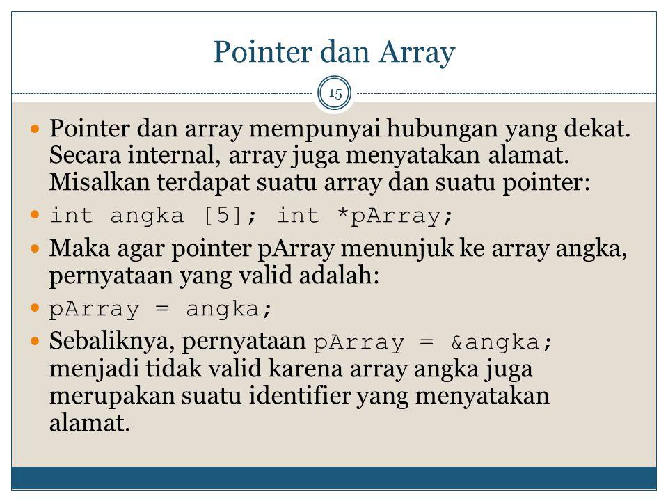 Pointer dan Array 15 Pointer dan array mempunyai hubungan yang dekat. Secara internal, array juga menyatakan alamat. Misalkan terdapat suatu array dan