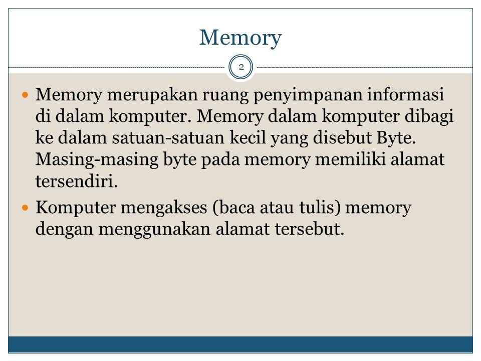 Memory 2 Memory merupakan ruang penyimpanan informasi di dalam komputer. Memory dalam komputer dibagi ke dalam satuan-satuan kecil yang disebut Byte.