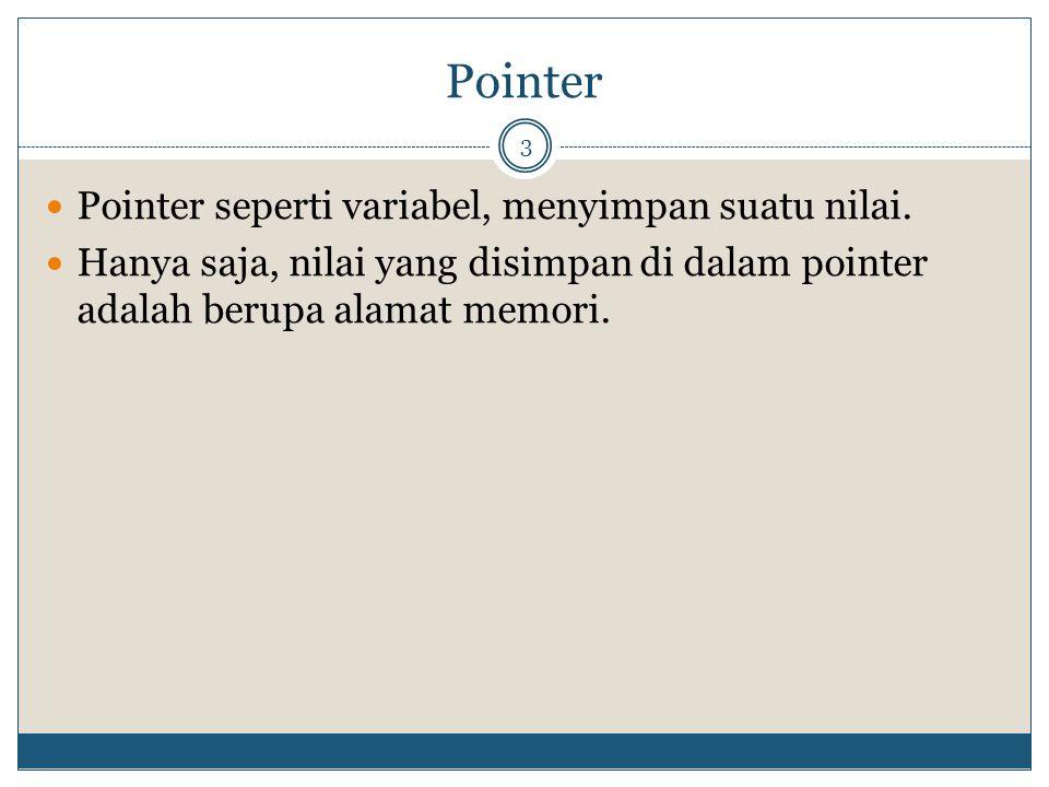 Pointer 3 Pointer seperti variabel, menyimpan suatu nilai. Hanya saja, nilai yang disimpan di dalam pointer adalah berupa alamat memori.