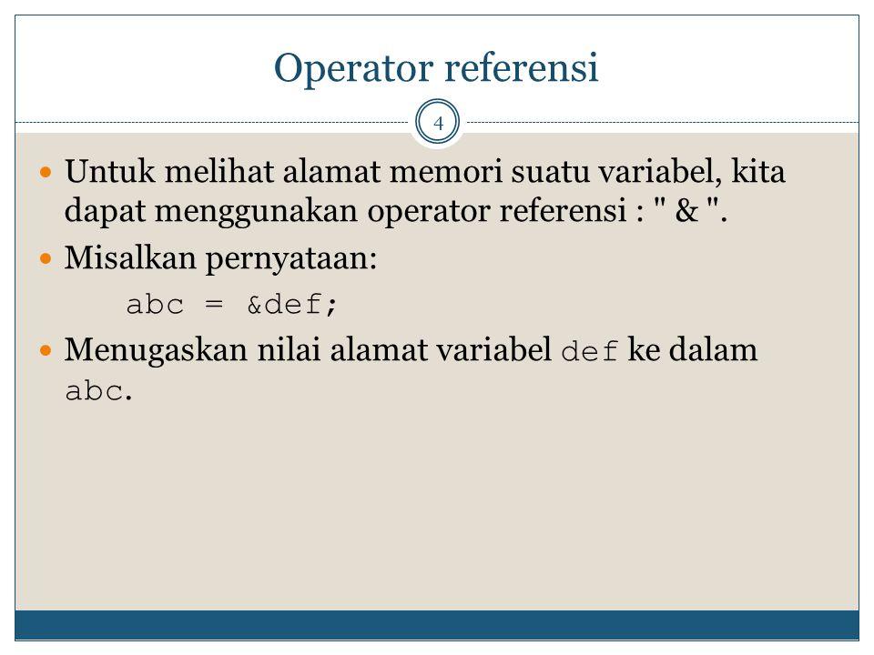 Operator referensi 4 Untuk melihat alamat memori suatu variabel, kita dapat menggunakan operator referensi :