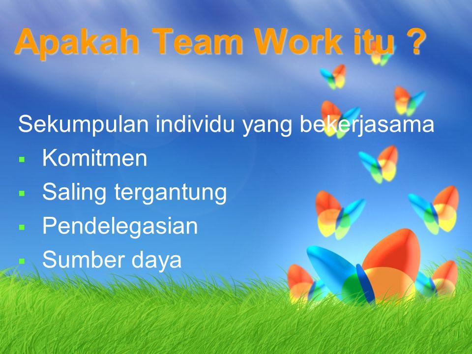 Apakah Team Work itu ? Sekumpulan individu yang bekerjasama  Komitmen  Saling tergantung  Pendelegasian  Sumber daya