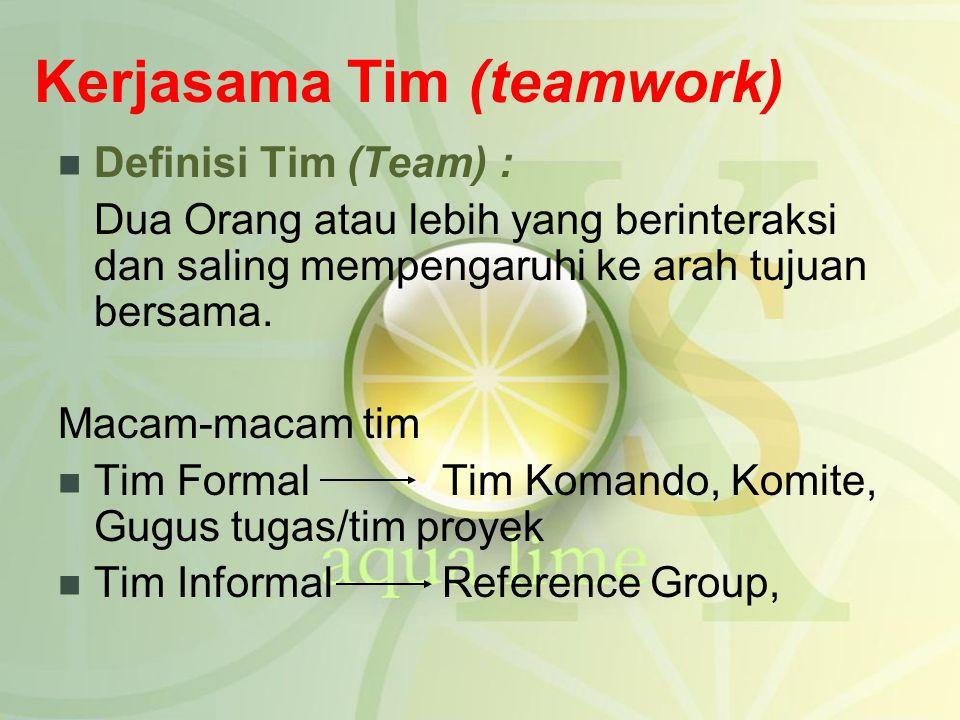 Kerjasama Tim (teamwork) Definisi Tim (Team) : Dua Orang atau lebih yang berinteraksi dan saling mempengaruhi ke arah tujuan bersama. Macam-macam tim
