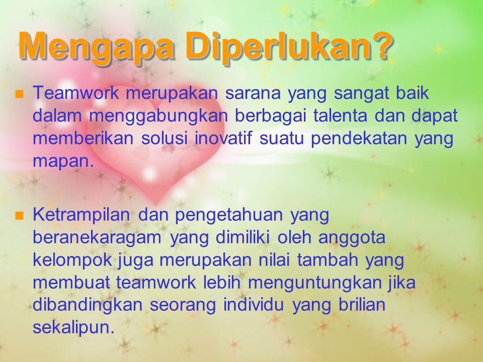 Mengapa Diperlukan? Teamwork merupakan sarana yang sangat baik dalam menggabungkan berbagai talenta dan dapat memberikan solusi inovatif suatu pendeka