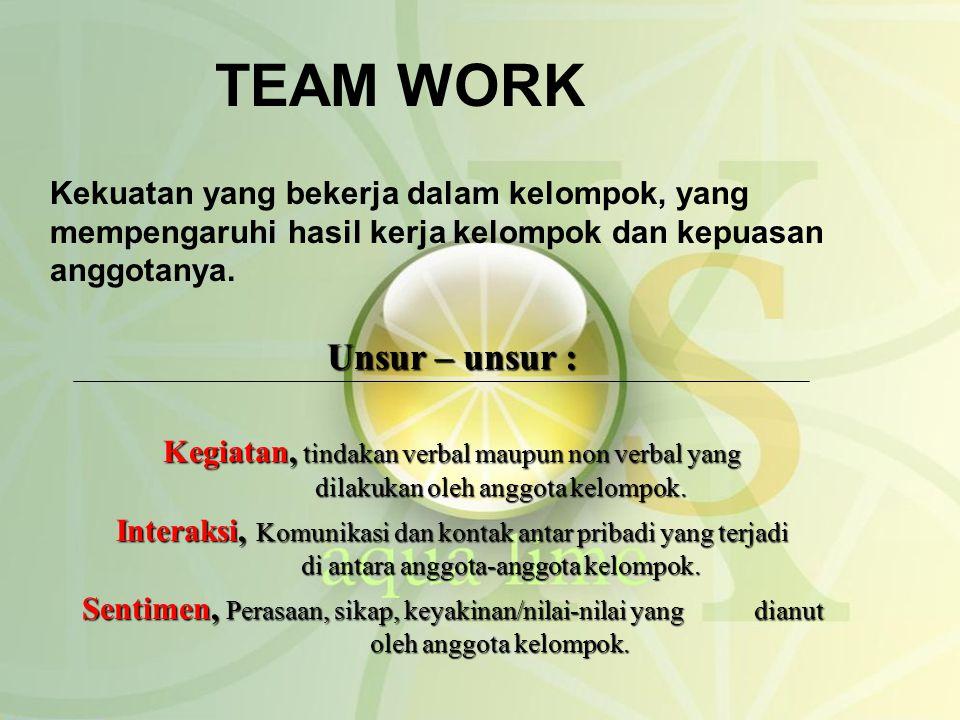 TEAM WORK Kekuatan yang bekerja dalam kelompok, yang mempengaruhi hasil kerja kelompok dan kepuasan anggotanya. Unsur – unsur : Kegiatan, tindakan ver