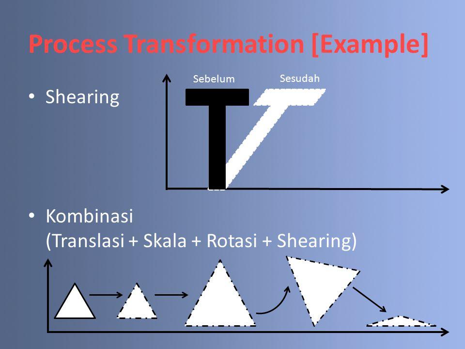 Transformations Syntax 3 basic syntax transformations: – glTranslate(T x, T y, T z) Memindahkan titik/objek dalam arah x, y dan z.