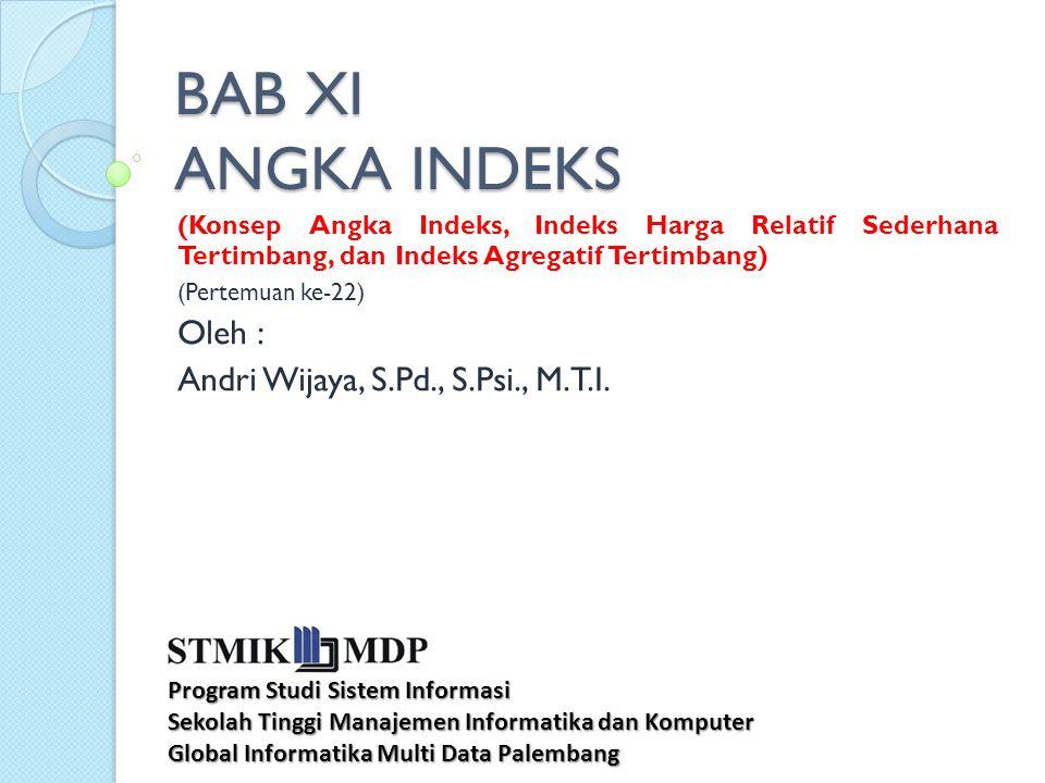 BAB XI ANGKA INDEKS (Konsep Angka Indeks, Indeks Harga Relatif Sederhana Tertimbang, dan Indeks Agregatif Tertimbang) (Pertemuan ke-22) Oleh : Andri W