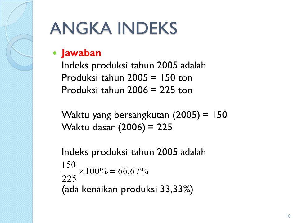 ANGKA INDEKS Jawaban Indeks produksi tahun 2005 adalah Produksi tahun 2005 = 150 ton Produksi tahun 2006 = 225 ton Waktu yang bersangkutan (2005) = 15