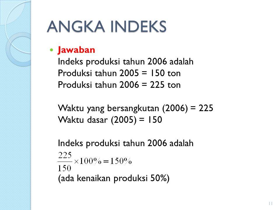 ANGKA INDEKS Jawaban Indeks produksi tahun 2006 adalah Produksi tahun 2005 = 150 ton Produksi tahun 2006 = 225 ton Waktu yang bersangkutan (2006) = 22