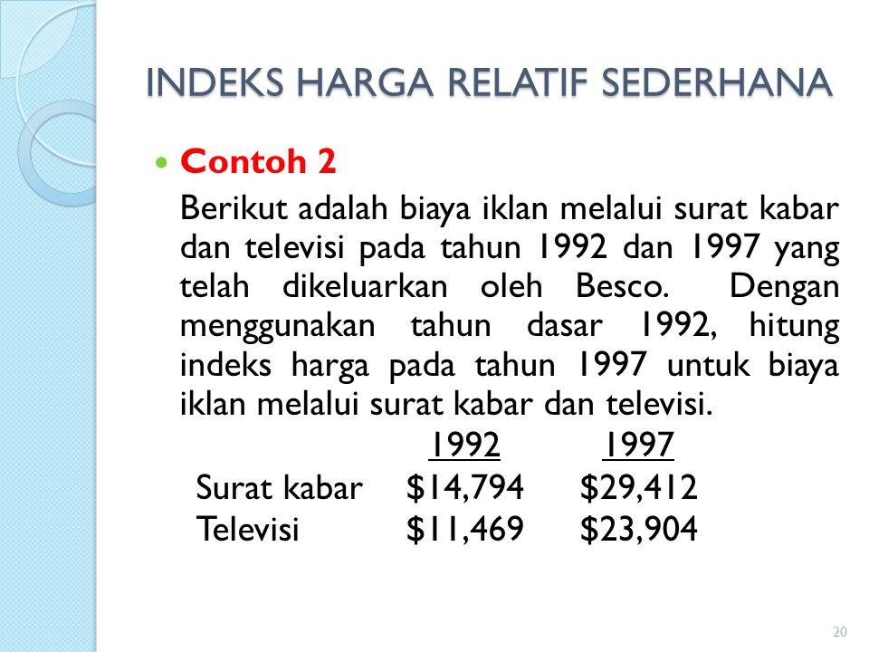 INDEKS HARGA RELATIF SEDERHANA Contoh 2 Berikut adalah biaya iklan melalui surat kabar dan televisi pada tahun 1992 dan 1997 yang telah dikeluarkan ol