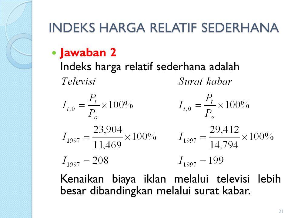 INDEKS HARGA RELATIF SEDERHANA Jawaban 2 Indeks harga relatif sederhana adalah Kenaikan biaya iklan melalui televisi lebih besar dibandingkan melalui