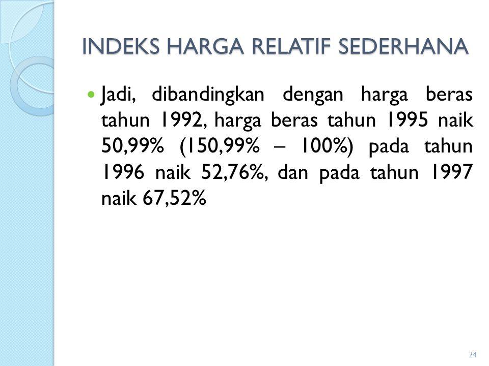 INDEKS HARGA RELATIF SEDERHANA Jadi, dibandingkan dengan harga beras tahun 1992, harga beras tahun 1995 naik 50,99% (150,99% – 100%) pada tahun 1996 n