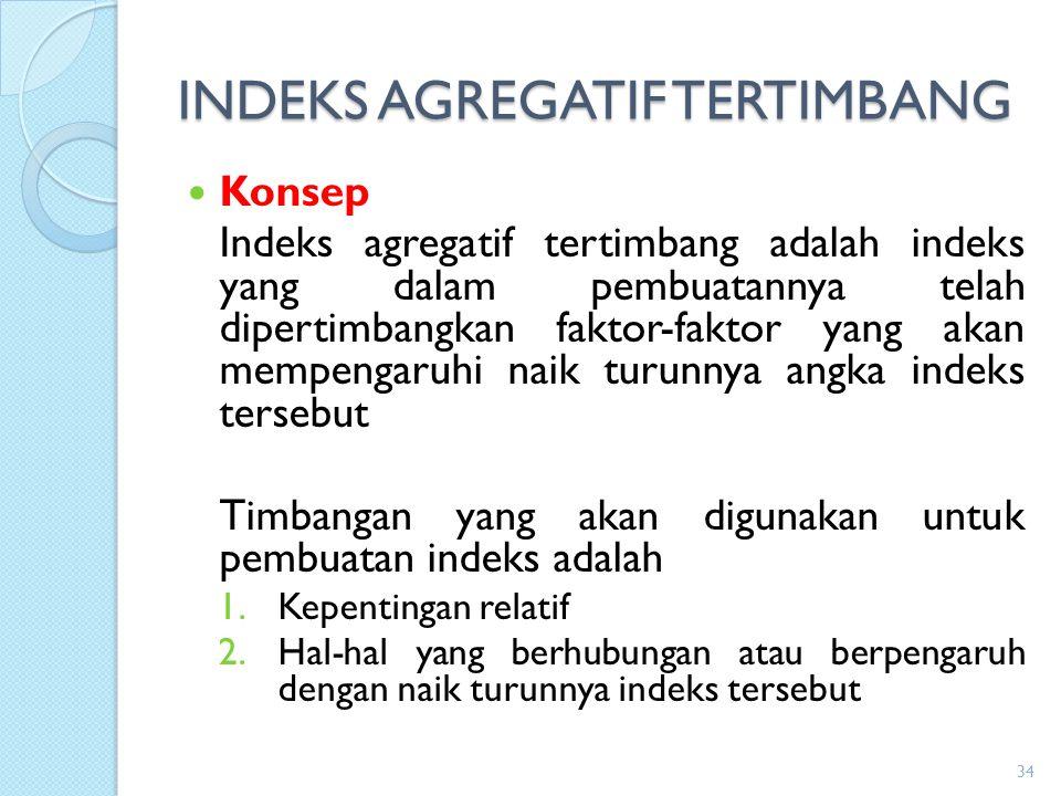 INDEKS AGREGATIF TERTIMBANG Konsep Indeks agregatif tertimbang adalah indeks yang dalam pembuatannya telah dipertimbangkan faktor-faktor yang akan mem