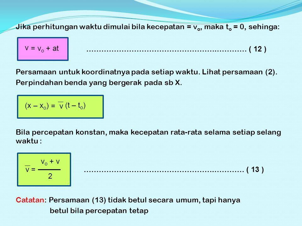 Jika perhitungan waktu dimulai bila kecepatan = v o, maka t o = 0, sehinga: v = v o + at …………………………………………….………… ( 12 ) Persamaan untuk koordinatnya pada setiap waktu.