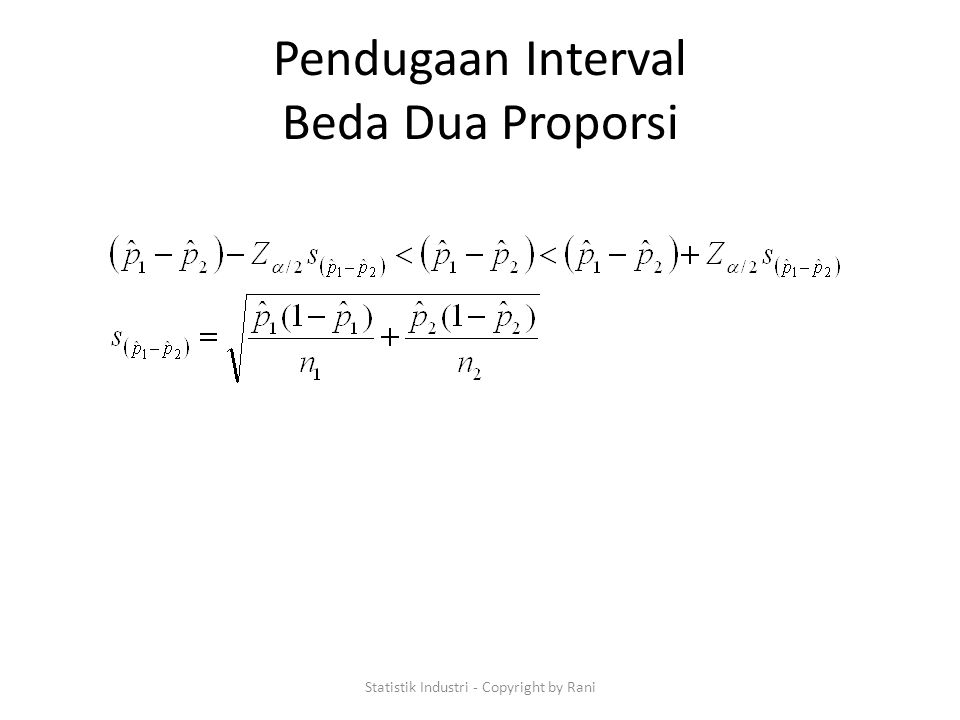 Pendugaan Interval Beda Dua Proporsi Statistik Industri - Copyright by Rani