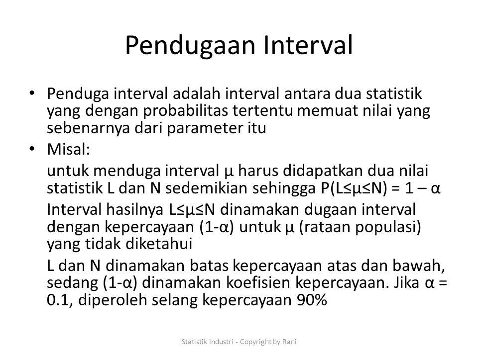 Pendugaan Interval Penduga interval adalah interval antara dua statistik yang dengan probabilitas tertentu memuat nilai yang sebenarnya dari parameter itu Misal: untuk menduga interval µ harus didapatkan dua nilai statistik L dan N sedemikian sehingga P(L≤µ≤N) = 1 – α Interval hasilnya L≤µ≤N dinamakan dugaan interval dengan kepercayaan (1-α) untuk µ (rataan populasi) yang tidak diketahui L dan N dinamakan batas kepercayaan atas dan bawah, sedang (1-α) dinamakan koefisien kepercayaan.
