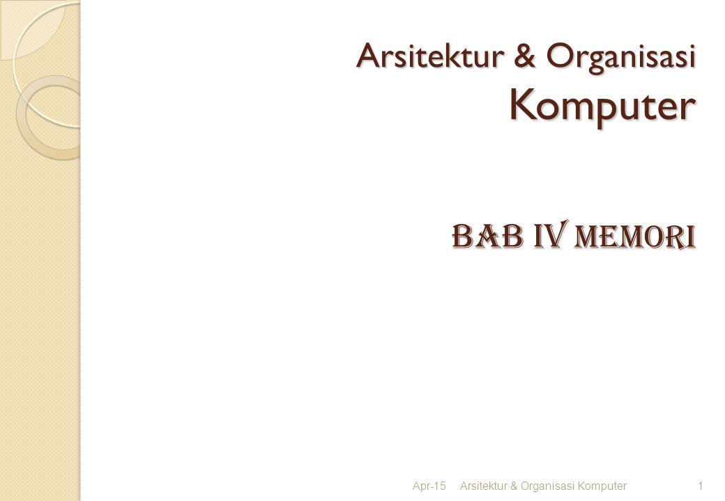 Arsitektur & Organisasi Komputer BAB iv memori Apr-15Arsitektur & Organisasi Komputer1