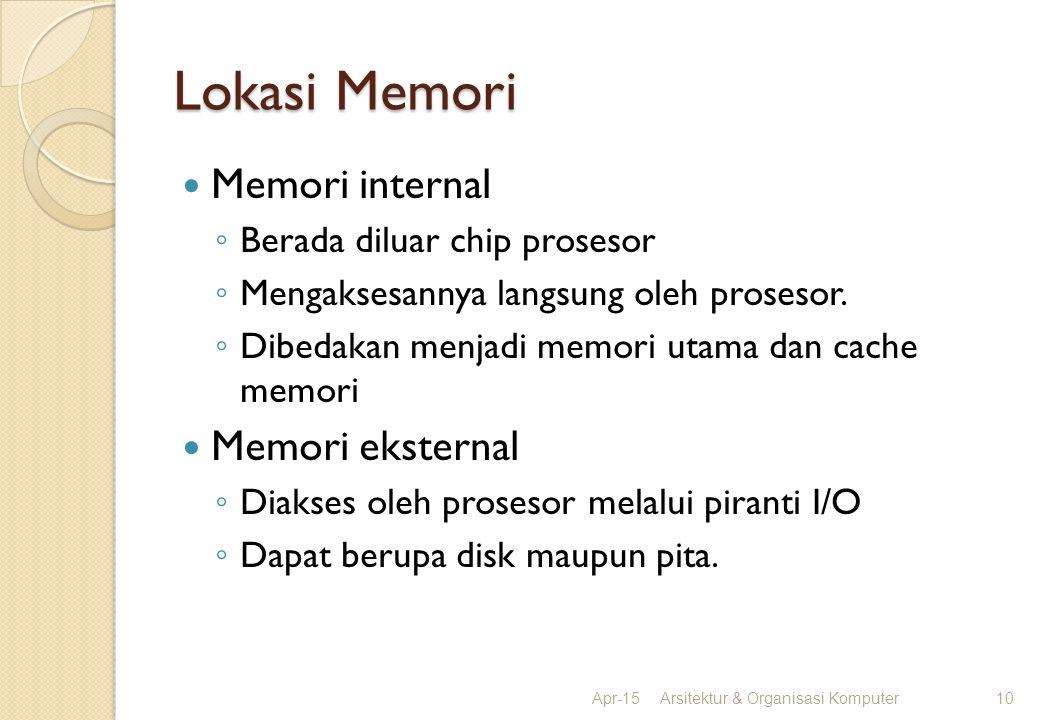 Lokasi Memori Apr-15Arsitektur & Organisasi Komputer10 Memori internal ◦ Berada diluar chip prosesor ◦ Mengaksesannya langsung oleh prosesor. ◦ Dibeda