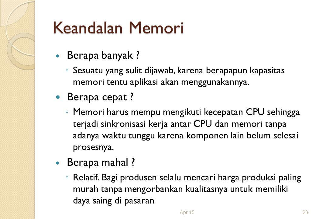 Keandalan Memori Berapa banyak ? ◦ Sesuatu yang sulit dijawab, karena berapapun kapasitas memori tentu aplikasi akan menggunakannya. Berapa cepat ? ◦