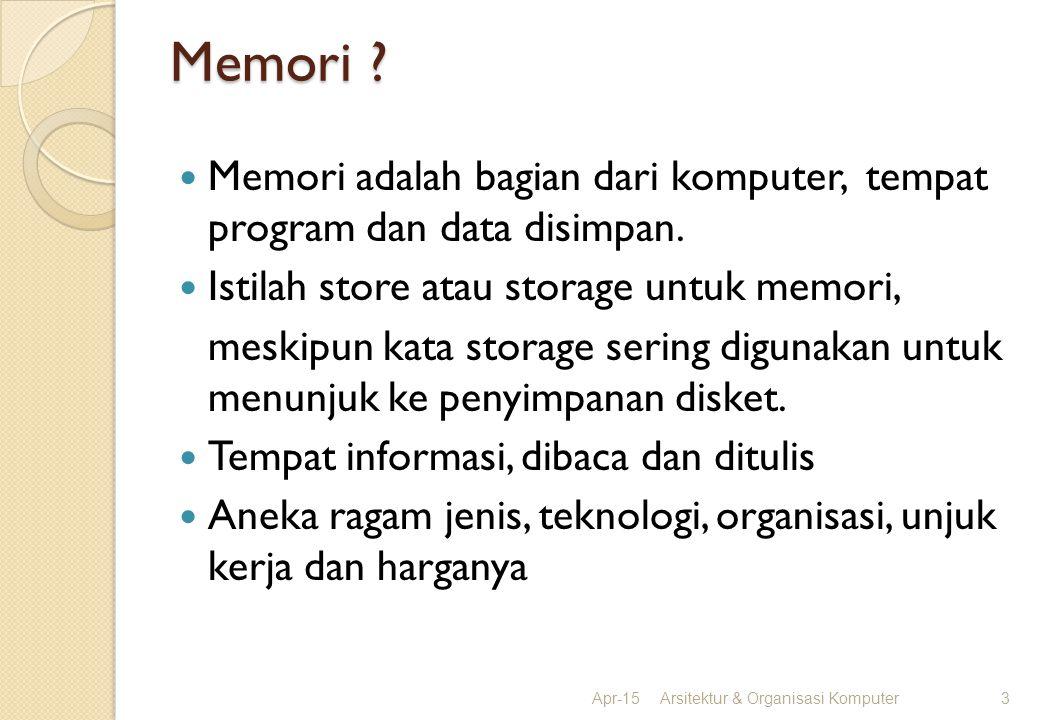 Memori ? Memori adalah bagian dari komputer, tempat program dan data disimpan. Istilah store atau storage untuk memori, meskipun kata storage sering d