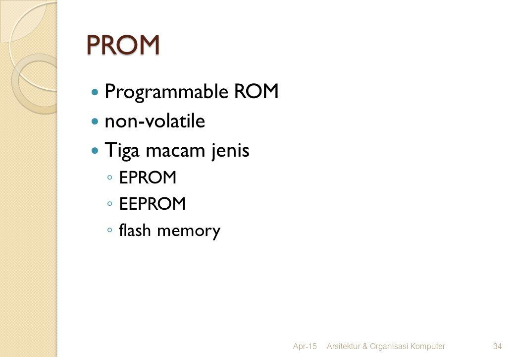 PROM Programmable ROM non-volatile Tiga macam jenis ◦ EPROM ◦ EEPROM ◦ flash memory Apr-15Arsitektur & Organisasi Komputer34