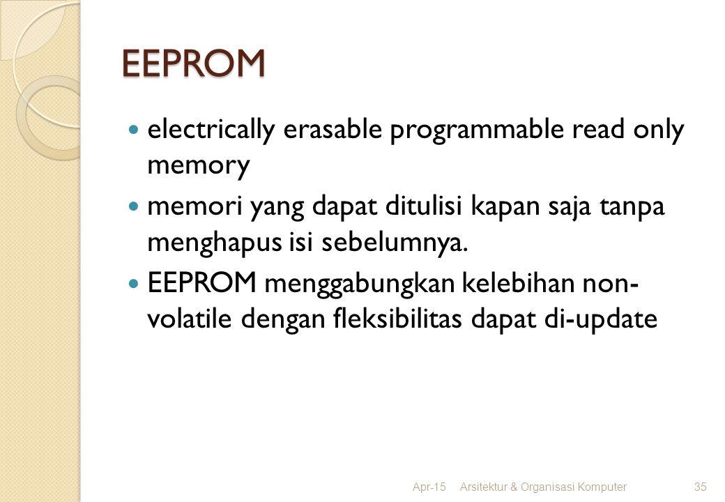 EEPROM electrically erasable programmable read only memory memori yang dapat ditulisi kapan saja tanpa menghapus isi sebelumnya. EEPROM menggabungkan