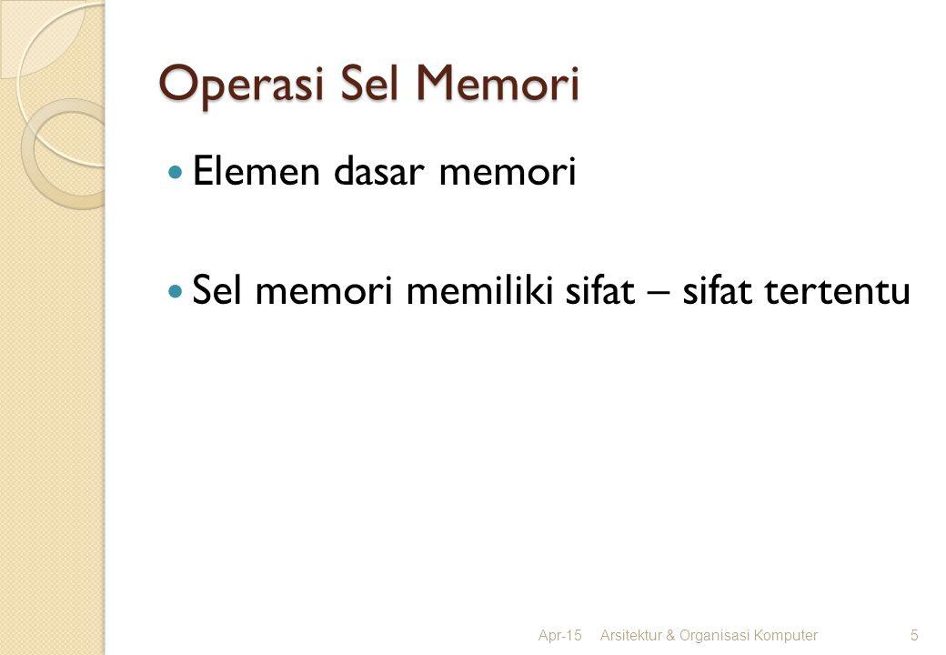 Operasi Sel Memori Elemen dasar memori Sel memori memiliki sifat – sifat tertentu Apr-15Arsitektur & Organisasi Komputer5