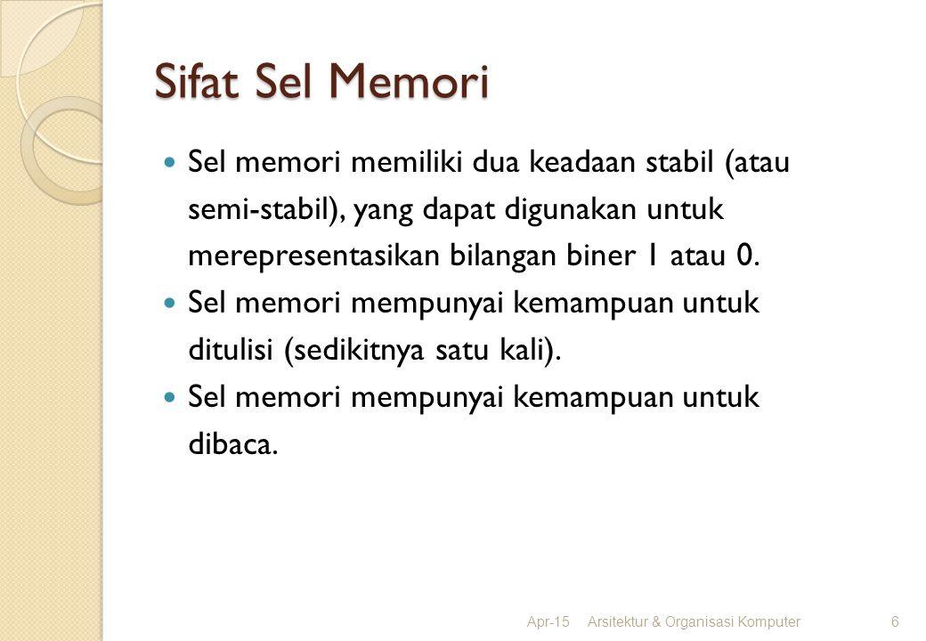 Sifat Sel Memori Sel memori memiliki dua keadaan stabil (atau semi-stabil), yang dapat digunakan untuk merepresentasikan bilangan biner 1 atau 0. Sel