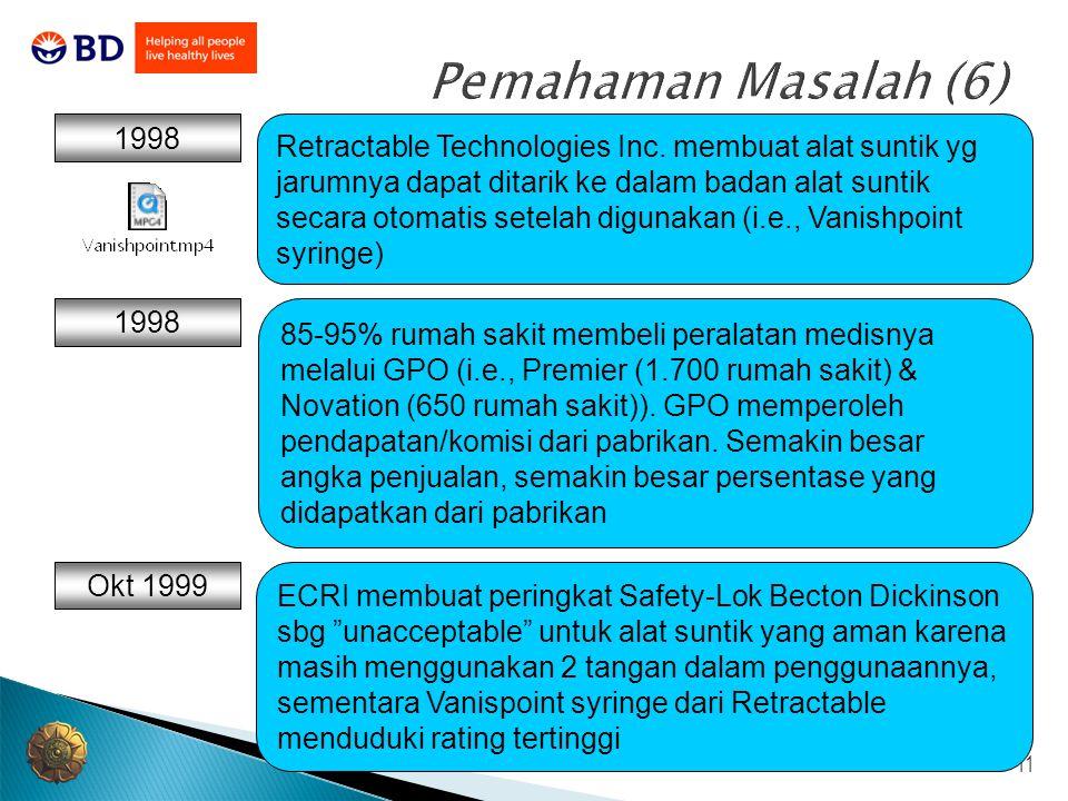 11 Pemahaman Masalah (6) 1998 85-95% rumah sakit membeli peralatan medisnya melalui GPO (i.e., Premier (1.700 rumah sakit) & Novation (650 rumah sakit