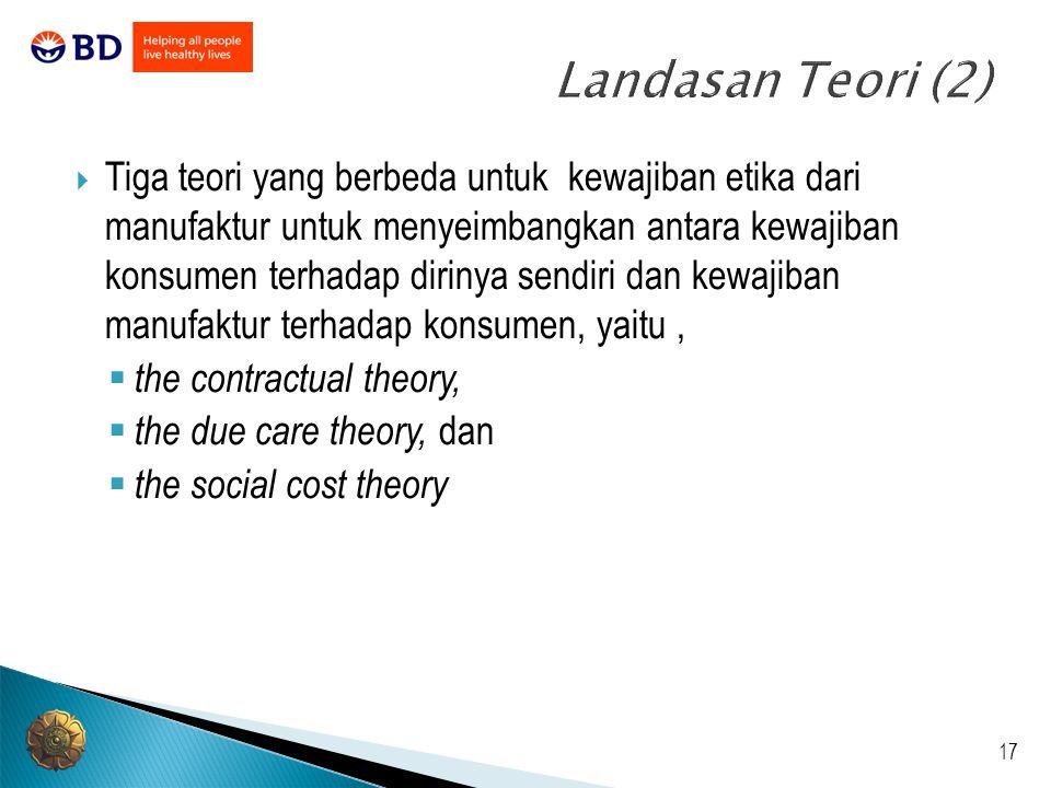 17 Landasan Teori (2)  Tiga teori yang berbeda untuk kewajiban etika dari manufaktur untuk menyeimbangkan antara kewajiban konsumen terhadap dirinya