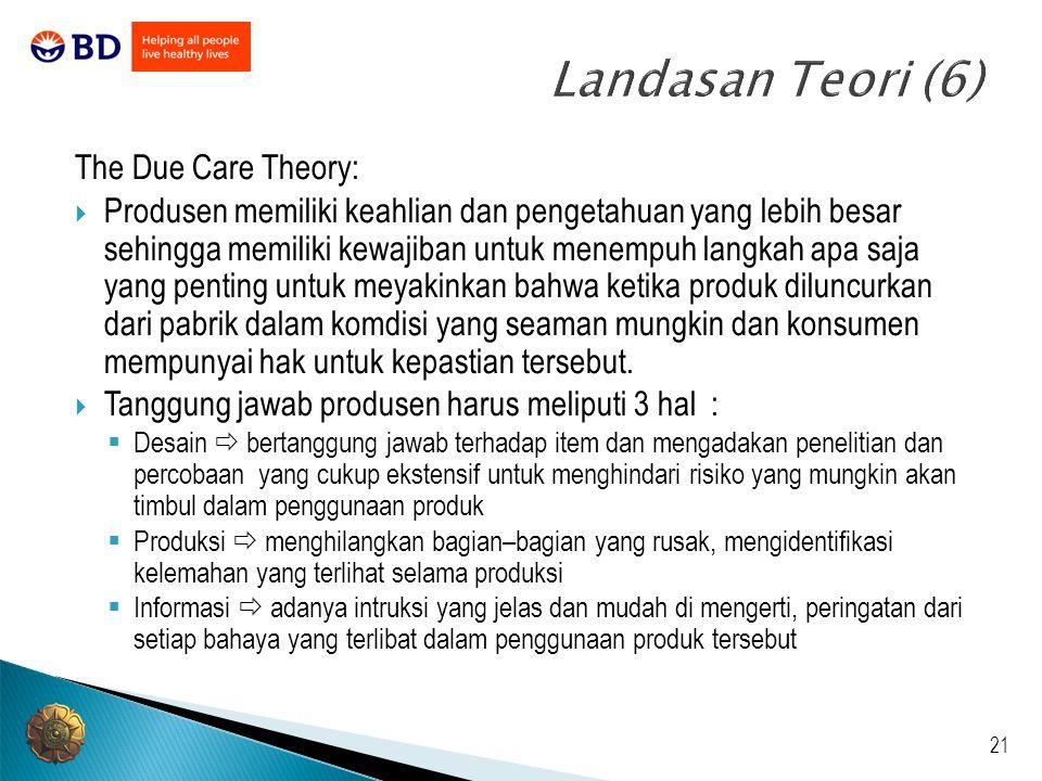 21 Landasan Teori (6) The Due Care Theory:  Produsen memiliki keahlian dan pengetahuan yang lebih besar sehingga memiliki kewajiban untuk menempuh la
