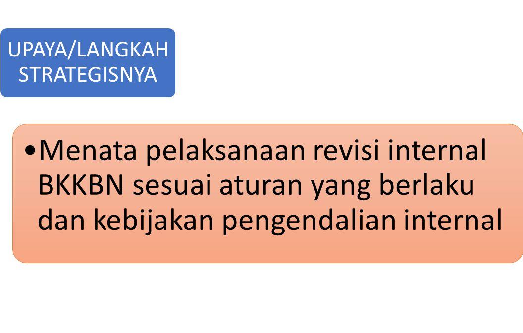 Menata pelaksanaan revisi internal BKKBN sesuai aturan yang berlaku dan kebijakan pengendalian internal UPAYA/LANGKAH STRATEGISNYA