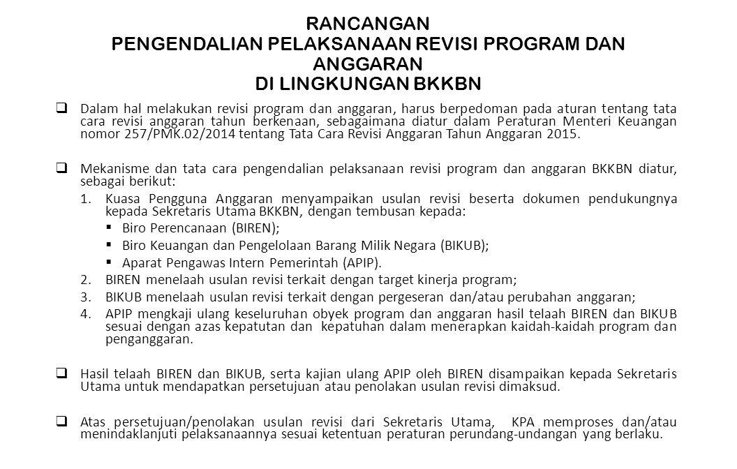 RANCANGAN PENGENDALIAN PELAKSANAAN REVISI PROGRAM DAN ANGGARAN DI LINGKUNGAN BKKBN  Dalam hal melakukan revisi program dan anggaran, harus berpedoman