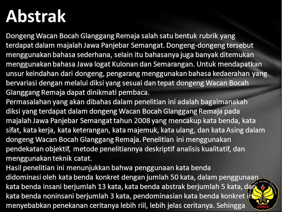 Kata Kunci Diksi, dongeng Wacan Bocah Glanggang Remaja majalah Jawa Panjebar Semangat tahun 2008.