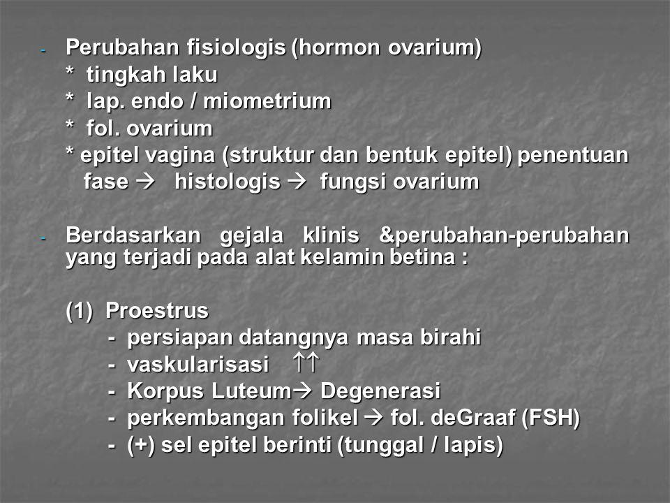 - Perubahan fisiologis (hormon ovarium) * tingkah laku * lap. endo / miometrium * fol. ovarium * epitel vagina (struktur dan bentuk epitel) penentuan