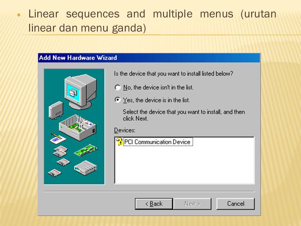  Linear sequences and multiple menus (urutan linear dan menu ganda)