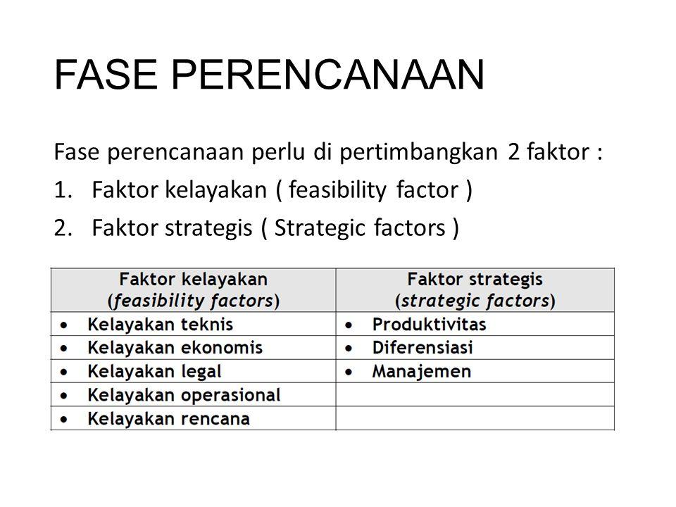 FASE PERENCANAAN Fase perencanaan perlu di pertimbangkan 2 faktor : 1.Faktor kelayakan ( feasibility factor ) 2.Faktor strategis ( Strategic factors )