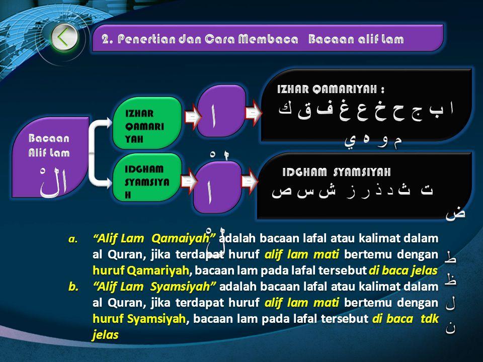 "b. Pengertian Bacaan Alif Lam Bacaan "" Alif Lam"", yaitu ketentuan/ cara membaca alif lam mati ( sukun) yang diikuti salah satu huruf hijaiyah. Ketenta"