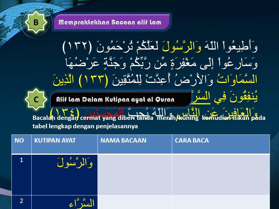"""a."""" Alif Lam Qamaiyah"""" adalah bacaan lafal atau kalimat dalam al Quran, jika terdapat huruf alif lam mati bertemu dengan huruf Qamariyah, bacaan lam p"""