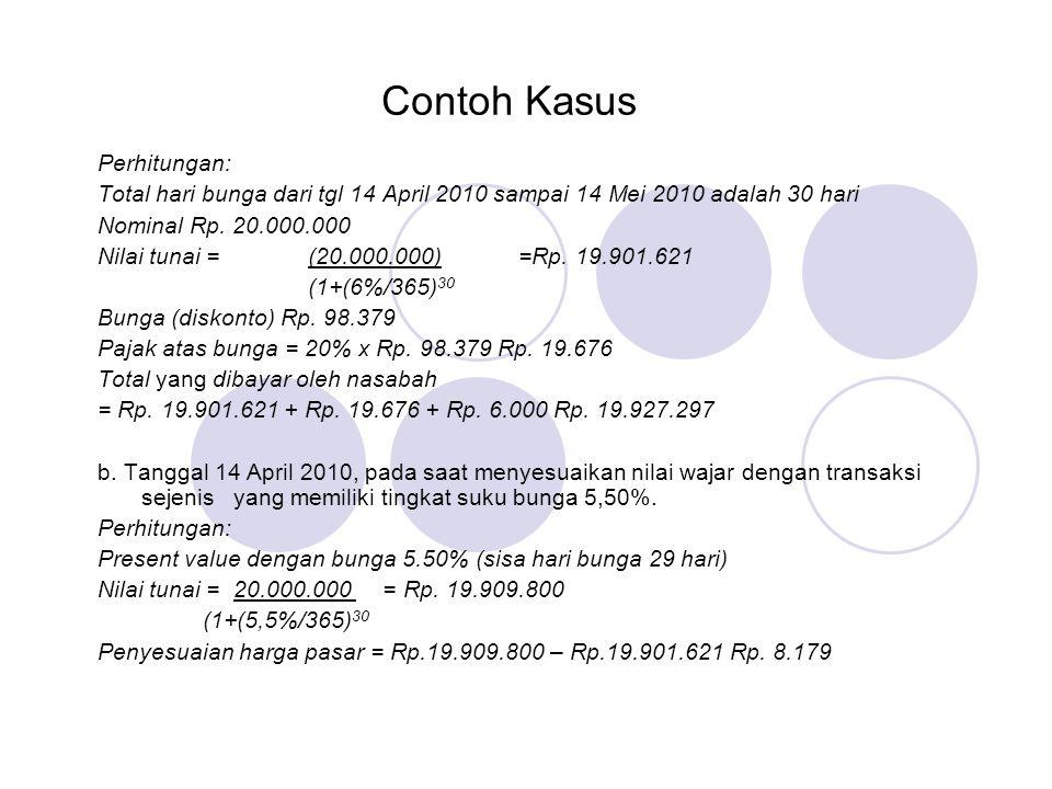 Contoh Kasus Perhitungan: Total hari bunga dari tgl 14 April 2010 sampai 14 Mei 2010 adalah 30 hari Nominal Rp. 20.000.000 Nilai tunai = (20.000.000)