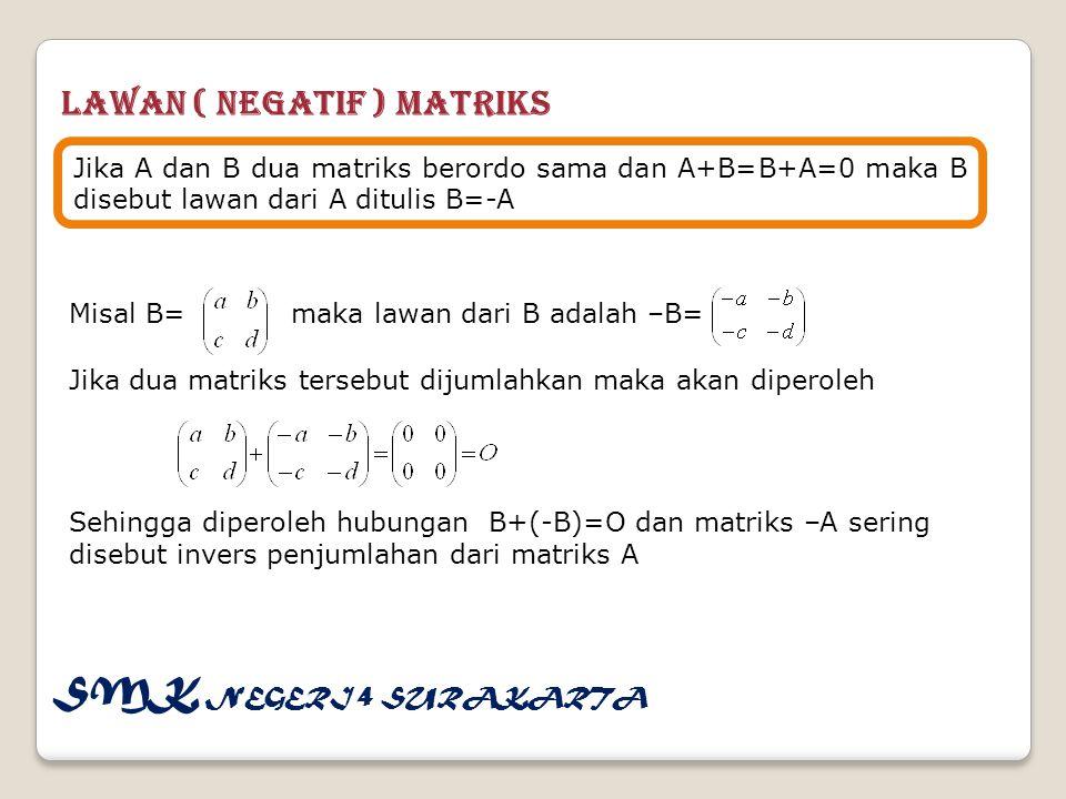 Lawan ( Negatif ) Matriks Jika A dan B dua matriks berordo sama dan A+B=B+A=0 maka B disebut lawan dari A ditulis B=-A Misal B= maka lawan dari B adalah –B= Jika dua matriks tersebut dijumlahkan maka akan diperoleh Sehingga diperoleh hubungan B+(-B)=O dan matriks –A sering disebut invers penjumlahan dari matriks A SMK NEGERI 4 SURAKARTA