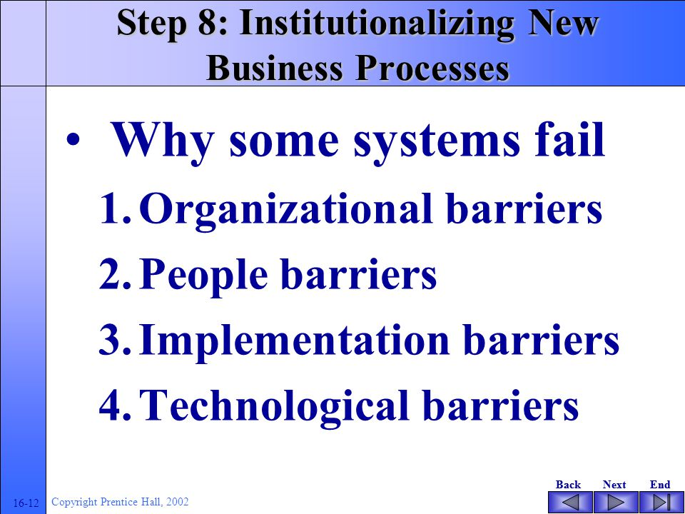 BackNextEndBackNextEnd 16-12 Copyright Prentice Hall, 2002 Step 8: Institutionalizing New Business Processes Why some systems fail 1.Organizational ba