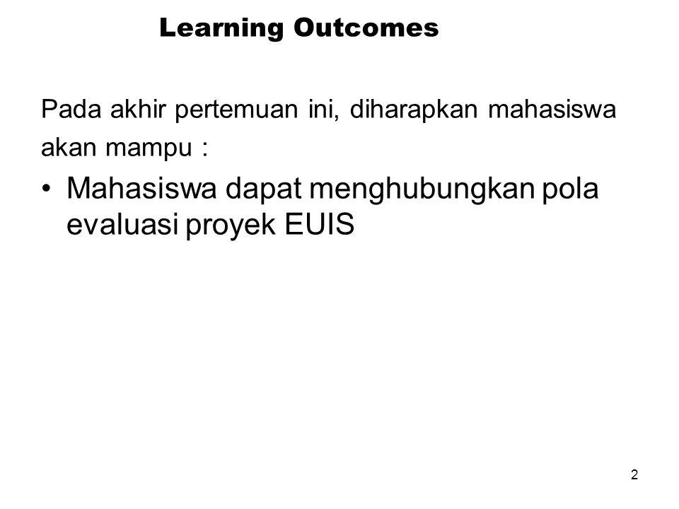 2 Learning Outcomes Pada akhir pertemuan ini, diharapkan mahasiswa akan mampu : Mahasiswa dapat menghubungkan pola evaluasi proyek EUIS