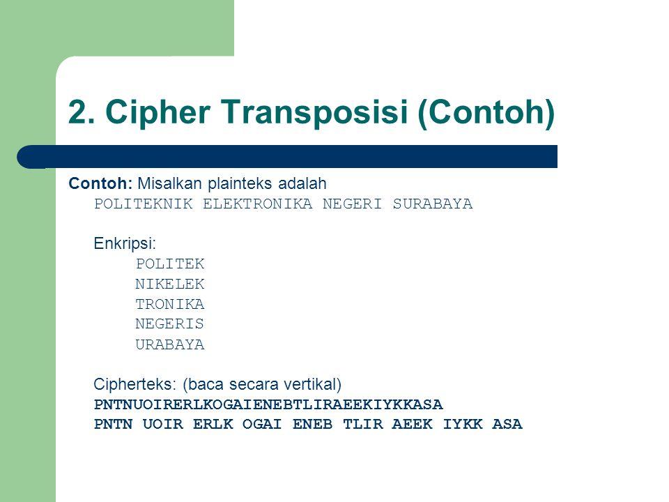 2. Cipher Transposisi (Contoh) Contoh: Misalkan plainteks adalah POLITEKNIK ELEKTRONIKA NEGERI SURABAYA Enkripsi: POLITEK NIKELEK TRONIKA NEGERIS URAB
