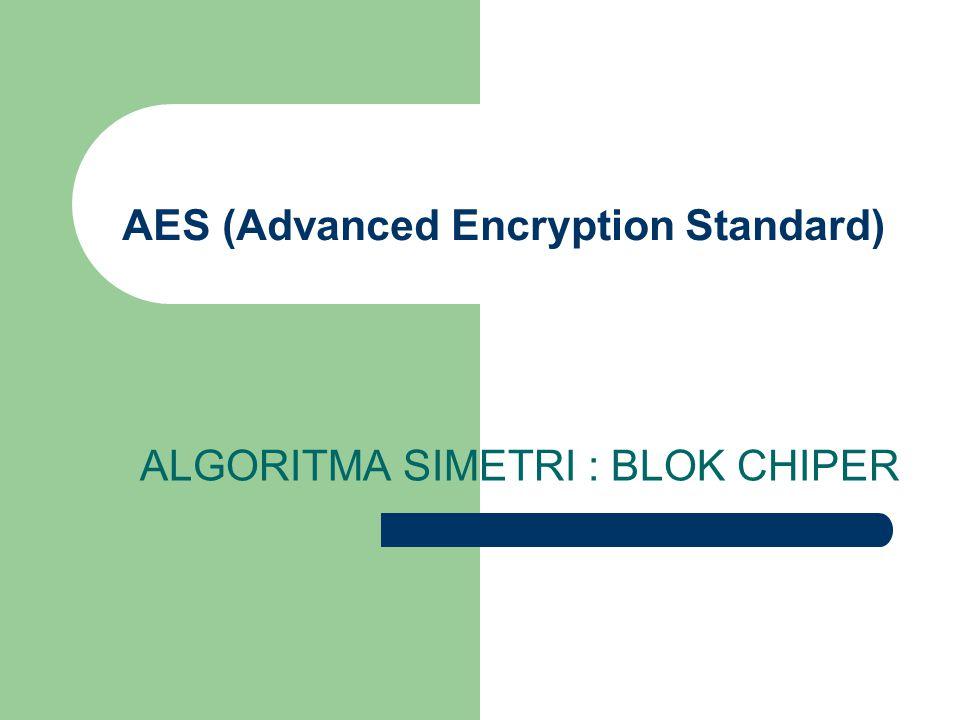 AES (Advanced Encryption Standard) ALGORITMA SIMETRI : BLOK CHIPER