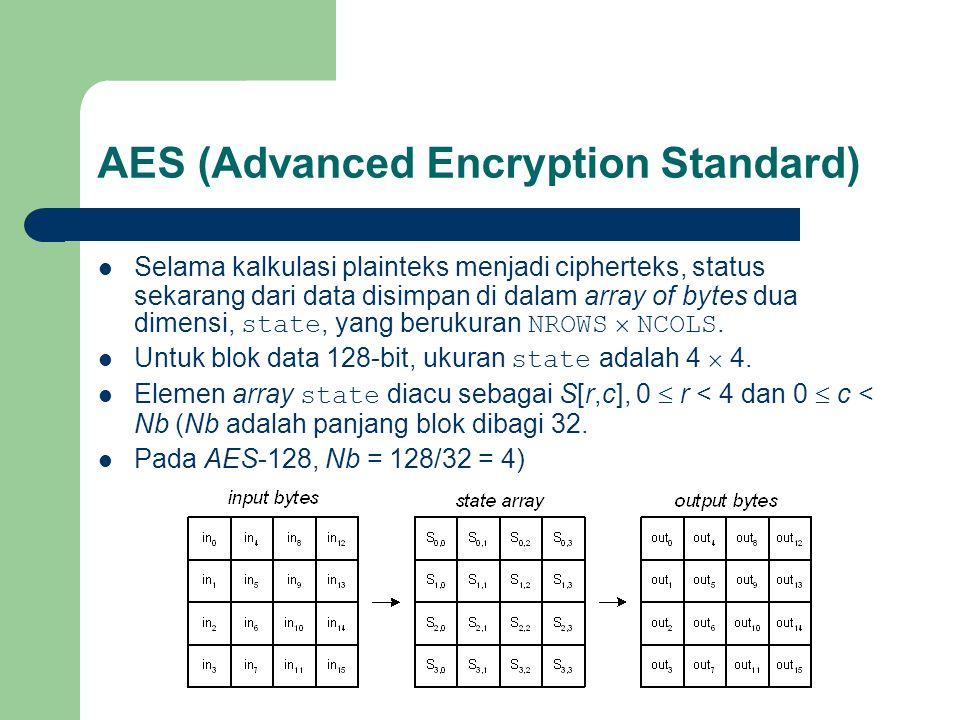 Selama kalkulasi plainteks menjadi cipherteks, status sekarang dari data disimpan di dalam array of bytes dua dimensi, state, yang berukuran NROWS  NCOLS.