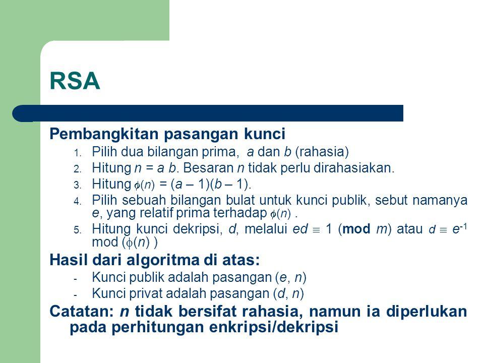 RSA Pembangkitan pasangan kunci 1.Pilih dua bilangan prima, a dan b (rahasia) 2.